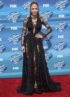 american idol dress - 2015 Zuhair Murad JEnnifer Lopez On American Idol Grand Finale Show Wear Black Jewel Long Sleeve Lace With Chiffon Red Carpet Dresses