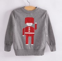 kids winter sweater - High quality baby Boys Sweaters Brand Children Cotton Robot pullover Gray Kids girls New fashion Warm knitted sweaters