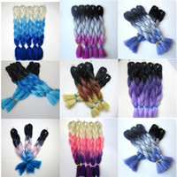 Wholesale Kanekalon Jumbo Braid Hair g inch Ombre three Tone Colored Expression Synthetic Braiding Hair Extensions colors in stock