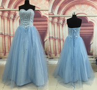 Wholesale Light Sky Blue Color Beaded Crystals Fashion Top Quality Ball Gown Quinceanera Dresses Sweetheart Neckline Party Prom Dresses