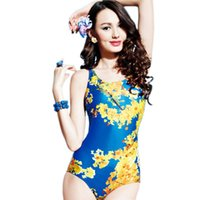 athlete women - 2016 woman Sports suit Swimming Competition One Piece Swimsuits Flower print Sexy Triangle Female Athletes Professional swimwear