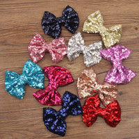 Wholesale Baby barrettes new Europe and cute girls children sequins hairpin large bow hair jewelry hair sparkles