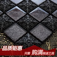 Wholesale Jasmine resin carved crystal glass mosaic tile puzzle backdrop bathroom living room wall stickers