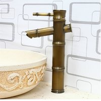 antique brass bathroom faucets widespread - PHASAT Bamboo Antique Brass One Handle One Hole Bathroom Sink Faucet Hot And Cold Water Basin Faucet