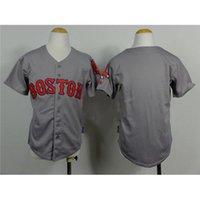Gris para niños jerseys de béisbol Red Sox de béisbol fresco juventud viste de 2015 Uniformes Nueva Colección béisbol de los muchachos baratos bordado prendas deportivas de la marca