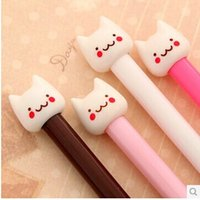 Wholesale Pens Pencils Gel pen Korea stationery cute little fresh selling Meng little cat black gel pen pen refill