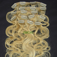 Wholesale 20inch set Clip In Remy Human Hair Extensions Body Wave Light Blonde g Price Best Quality
