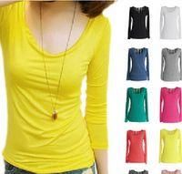 Wholesale on sale MIC new fashion womens clothing T shirt o neck Modal long sleeve free size