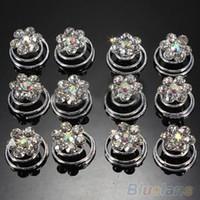 Wholesale 12Pcs Crystal Wedding Bridal Hair Pins Twists Coils Flower Swirl Spiral Hairpins AF