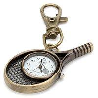 Wholesale Unisex Alloy Analog Quartz Keychain Watch with Badminton Racket Bronze