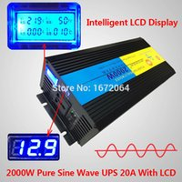 Wholesale Double DISPLAY pure sine wave watt W W peak v to v v v Power Inverter Charger UPS Quiet Fast Charge