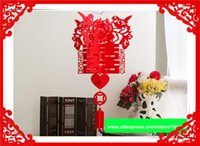 adorn weaves - Hot sale Chinese traditional Non woven decoration for home wedding red craft for Festive Supplies hanged adorn