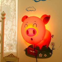 Wholesale 2015 New Novelty DIY D Sticker Wall Paper Lamp Baby Childern Bedroom Cartoon Dog Sunflower Pig Night Light L014134