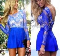 Wholesale 2014 AW Fashion lace halter waist long sleeved playsuit Jumpsuits TB