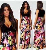 amazon flooring - European and American fashion printed dresses amazon sells deep v neck sleeveless dress model