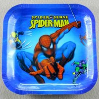 Wholesale 100sets AAA quality cute frozen sofia spiderman mcqueen car minnions kids birthday supplies party square paper plates hql