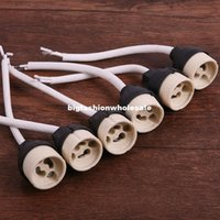 Wholesale New GU10 Base Socket LED Light Bulbs Lamps New Regulation Ceramic Mains Holder Wire Connector ZH070a