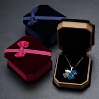 Wholesale Bow Velvet Gift Box Upscale Jewelry Jewelry Cartridge Box Necklace Box Bracelet Box Jewelry Box