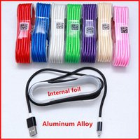 Wholesale New Micro USB Charger Cable Colorful Fabric Braided Aluminum Alloy M Data Sync charger Line For Samsung DHL