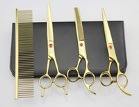 Wholesale 7 Hairdressing Scissors HRC JP C Stainless Steel Pet Hair Cutting Thinning Shears Set With Bag Plated