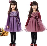 TuTu red red wine - Pretty Girls Dress Autumn Cotton Flower Lace Tulle Splicing Bow Belt Dressy Dresses Girl Kids Children Clothes Purple Wine Red K1668