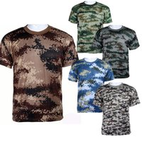 Cheap Wholesale-Summer Outdoors Hunting Camouflage T-shirt Men Breathable Army Tactical Combat T Shirt Military Dry Sport Camo Outdoor Camp Tees