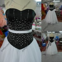 Wholesale 2014 Real Black And WHite Sweetheart Neckline Tulle Wedding Dress Ball Gown Bridal Gowns Corset Back Sweep Train Beading