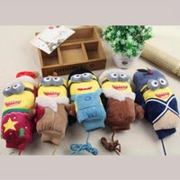 Wholesale LJJG161 Pairs Winter Lady Velour Thick Mittens Cute Minions Character Warm Gloves Full Finger Gloves Christmas Halloween Gift