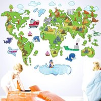 art america tv - bedroom decoration World map for children wall stickers TV backdrop cartoon version of the map in Europe and America style PVC wall stickers