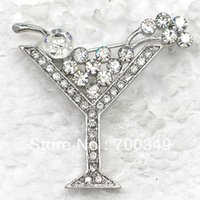 martini glasses - piece Clear Crystal Rhinestone Martini Glass Pin Brooch Wedding Party Brooches jewelry C269 A