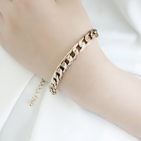 Wholesale Perfeel Jewelry Snap Jewelry Gold Plated Alloy Chain Link Bangles and Bracelets Bijouterie Gifts