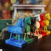 antique log homes - Deal Zakka hemp rope do old Wood Horse set furniture Fashion Creative Small Logs Trojan Horse six color Crafts