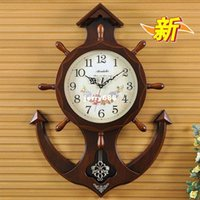 antique wooden swing - Anchors wooden clock wall clock rudder large living room wall charts mute Continental Mediterranean swing wooden bell clocks
