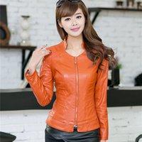 Wholesale 2016 New Stand Collar Slim Women s Leather Jackets Fashion Sexy PU Leather Jacket for Women Jaqueta de Couro Feminina CB016