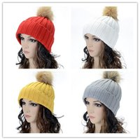 Wholesale Fashion Women s Candy Beanie Knitted Caps Crochet Faux Raccoon Rabbit Fur Pompoms ball hat Curling Ear Protect Hat Ladies Beanies colors