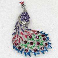 Men's costume brooch jewelry - C535 D Amethyst Crystal Rhinestone Enameling Beautiful Peacock Pin Brooch Wedding party prom brooch Fashion costume jewelry gift