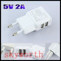 Wholesale Dual Port A USB US EU Plug Wall Charger For iPhone S ipad SAMSUNG GALAXY NOTE N7100