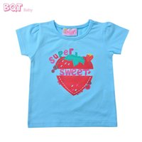 baby boy clothes trendy - New Lovely Girls Tee Strawberry Pinting O Neck Quality Cotton Trendy School Wear Summer Style M Baby Girl Clothing