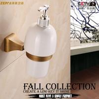antique soap dispenser - Full copper bathroom accessories classical European antique gold plated copper zirconium pastoral frame hand washing liquid soap dispenser b