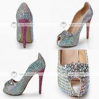 crystal pumps - Fashion Rhinestone Crystal Wedding Dress Shoes Open Peep Toe Stiletto Pumps Heels cm for Lady Prom Party Evening Bridal Accessories
