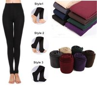 Wholesale 100PCS New fleece Leggings Warm Winter Faux Velvet Legging Knitted Thick Slim Leggings Super Elastic pantyhose style colors