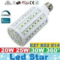 E27 E26 E14 B15 B22 Ampoules de maïs LED 30W 25W 20W Lumières LED Dimmable 360 Angle AC 85-265V + CE UL CSA