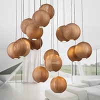 art deco wood - Solid wood ball chandelier pendant light modern Nordic creative minimalist living room dining multiple heads pendant lamp