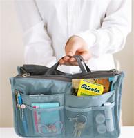 Wholesale DHL free colors Bag in Bag Dual Insert Multi function Handbag Makeup Pocket Organizer Purse