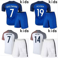 Wholesale Top thai quality EURO new France Kids Kit survetement football home away Franced soccer jerseys