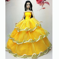 Wholesale New Luxury Lovely Orange Wedding Gown Dresses Clothes Outfit Girl Party For Princess Doll Xmas Gift