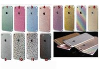 apple rainbow stickers - For Iphone S Plus S S SE C Full Body Bling Diamond Glitter Rainbow Leopard Front Back Sides Skin Sticker cover