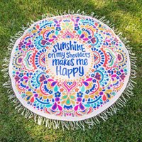 beach towels lot - 2Pcs Round Mandala Yoga Mat Circular Tassel Cotton Beach Towels Geometric Printed Bath Towel