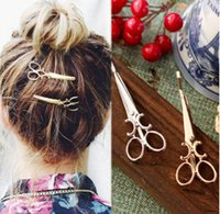 Wholesale female hair clips scissors headband shears headwear jewelry silver gold hairpins band best gift