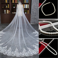 Wholesale Cheap Veil Length M Long Chapel Length Bridal Veil Appliques Wedding Dress Veil Appliques Tulle with Comb Free necklace